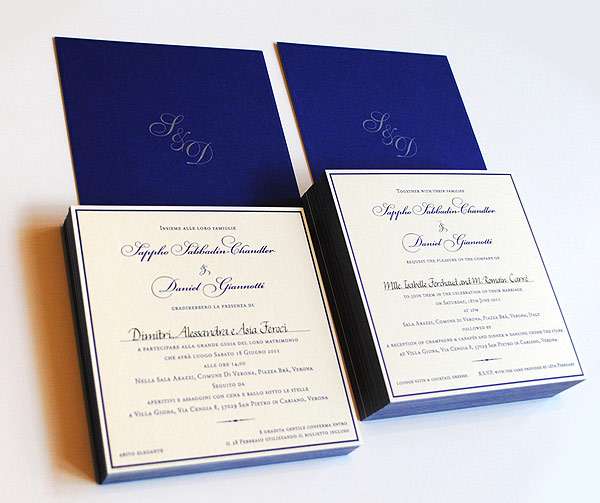 Calligraphy on letterpress wedding invitations from Cardlab