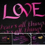 calligraphy art love bears all things