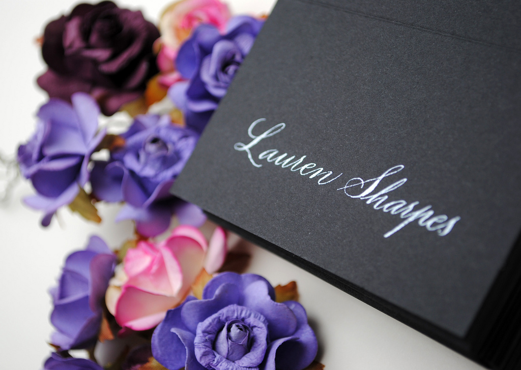 black place card calligraphy for weddings