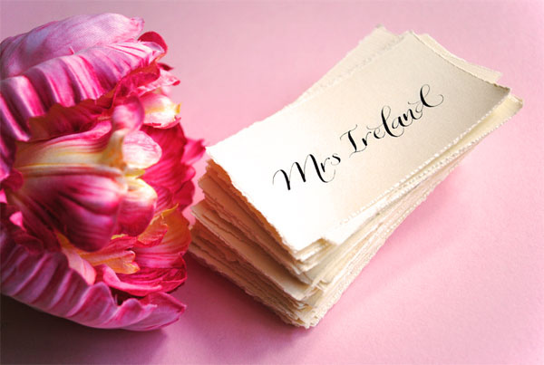 rustic calligraphy place cards for weddings