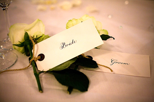 luggage tag with calligraphy for weddings