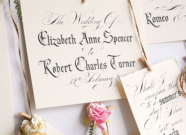 calligrapher for weddings in the UK