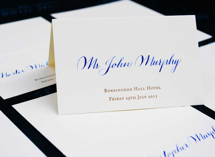 wedding place card with calligraphy
