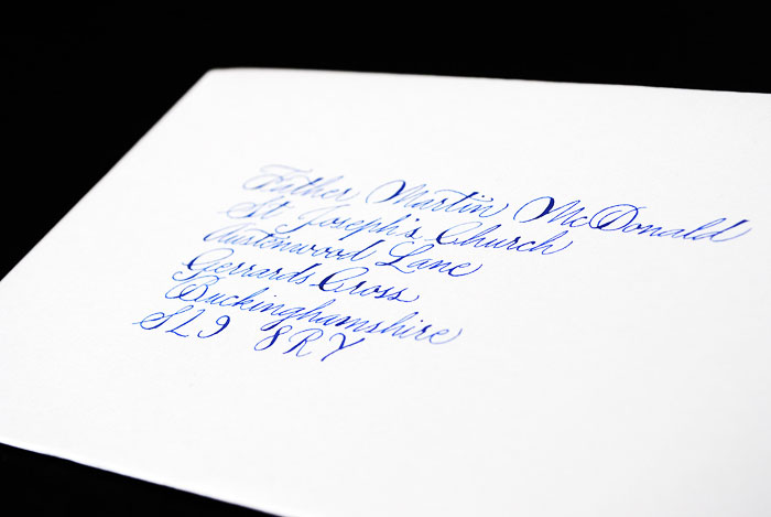 wedding envelope calligraphy addressing UK