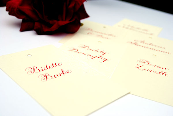 place card calligraphy for weddings Letterpress place cards with calligraphy