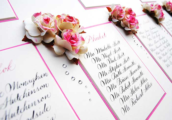 calligraphy wedding table plan with roses Calligraphy wedding table plan