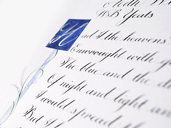 Calligraphy-commission-with-illuminated-letter-and-lavender