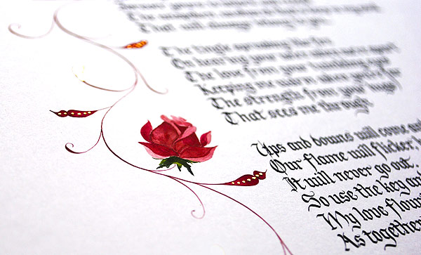 Calligraphy-poem-gift-rose-illustration-in-gouache