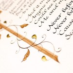 Calligraphy-poem-illustration-gift-with-gold-letter-and-border