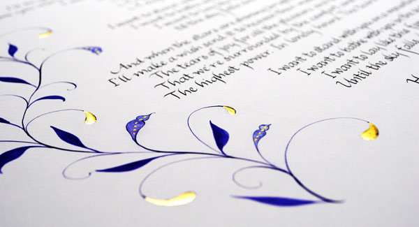 Swirly-calligraphy-border-illustration-in-gold-and-purple