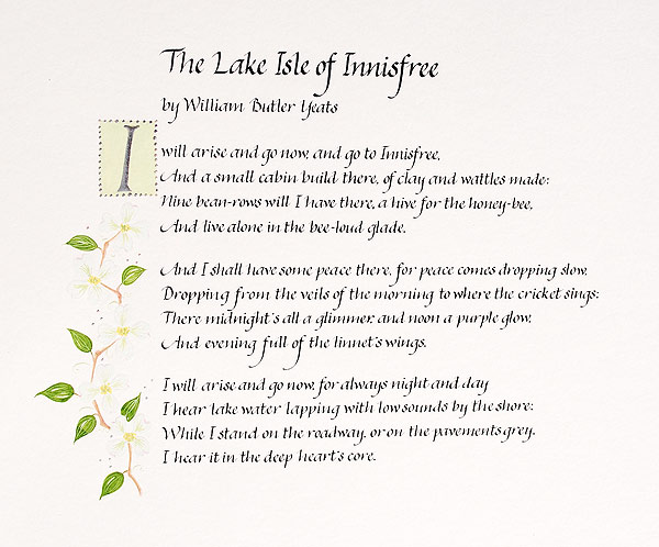 The-Lake-Isle-of-Innisfree-poem-in-calligraphy