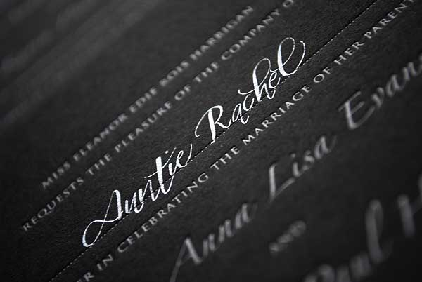 silver calligraphy on black invites 4 It 39s always a treat to write