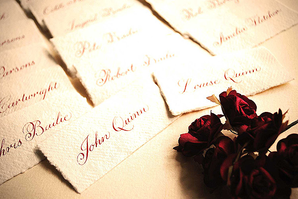 wedding place cards vintage rustic calligraphy Rustic wedding place settings