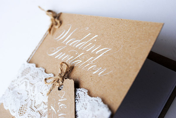 kraft lace wedding invite