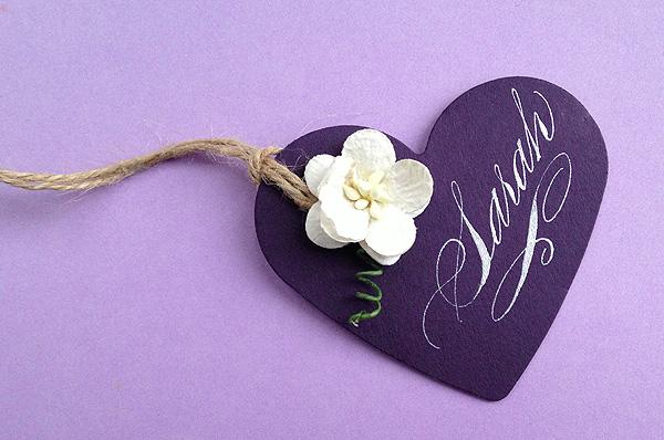 purple wedding hearts