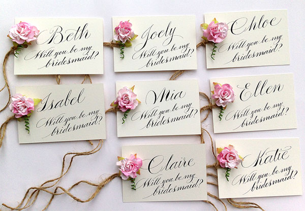Will You Be My Bridesmaid? Calligraphy cards