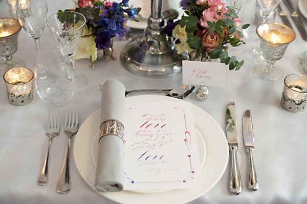 wedding menu calligraphy
