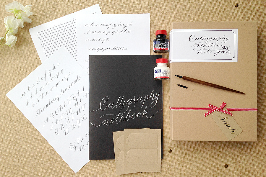 A choice of calligraphy kits for learning quirky lettering styles