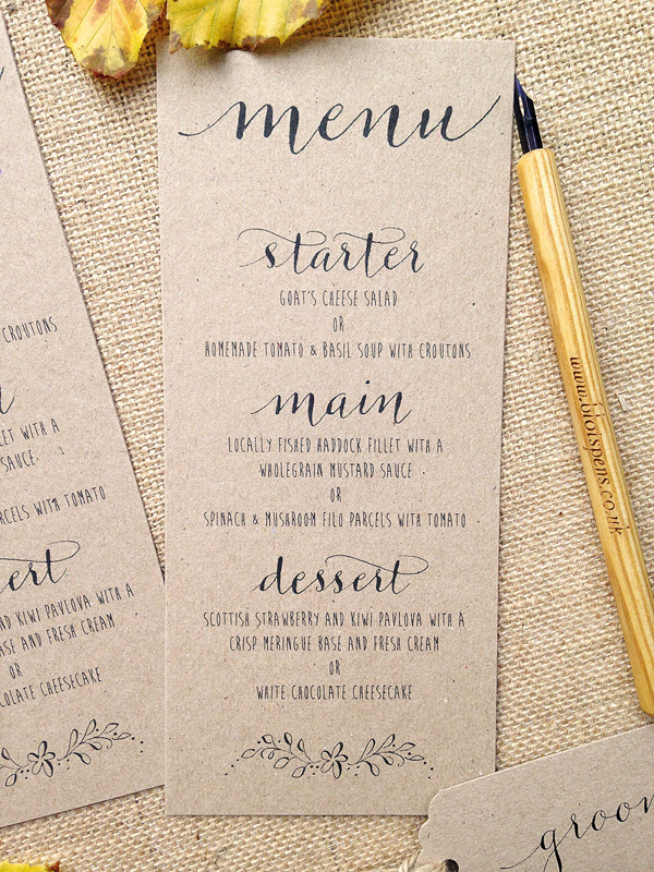 Kraft and calligraphy wedding invitations from £ by