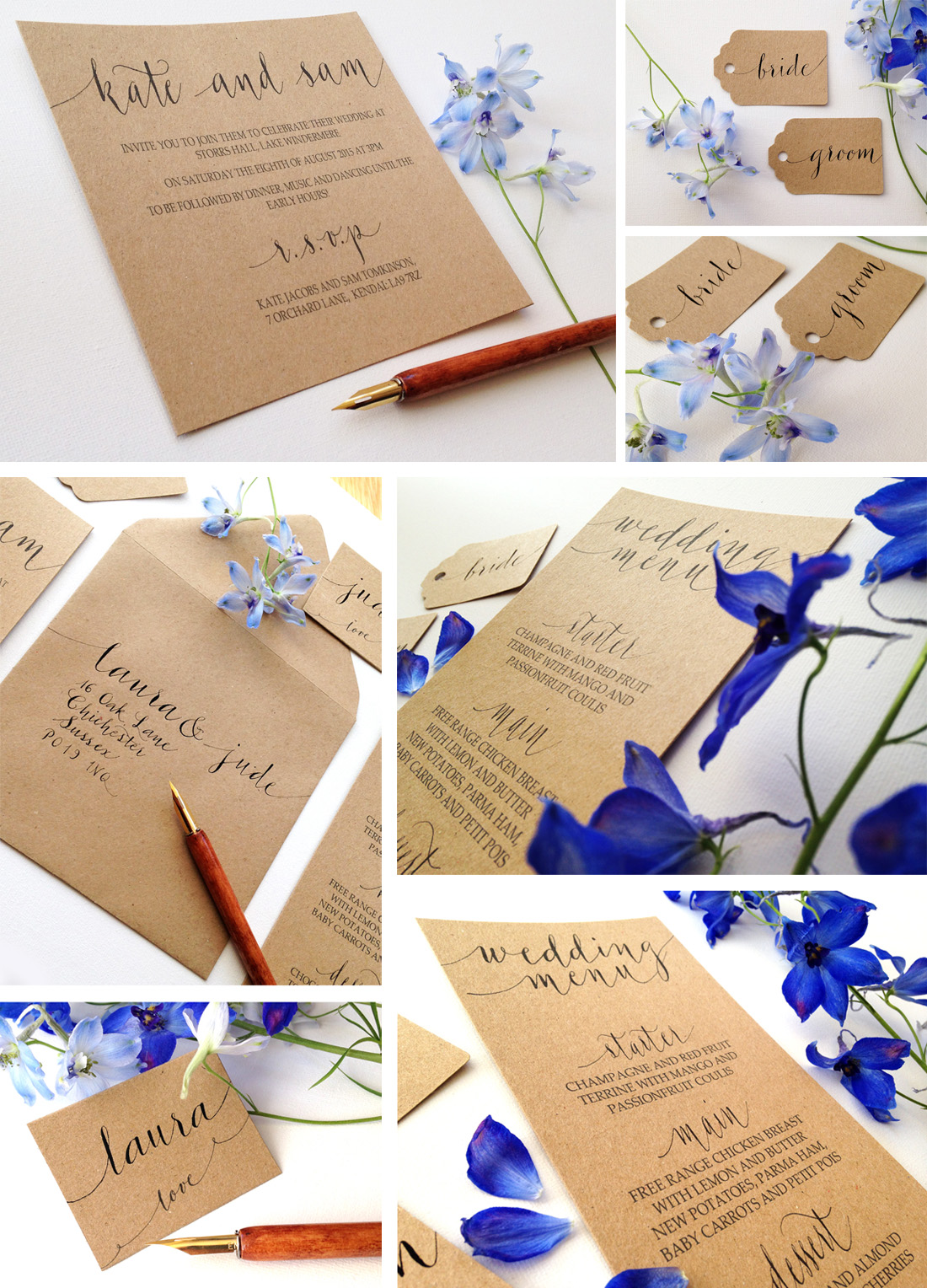 kraft calligraphy stationery