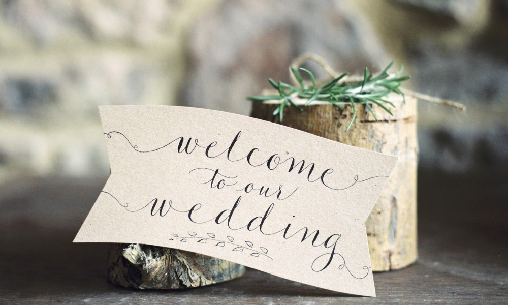 Kraft and calligraphy stationery for a rustic, elegant wedding styled shoot