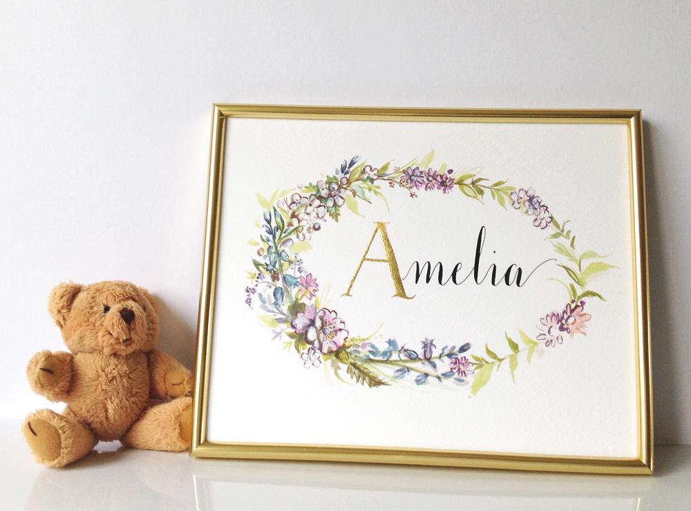 Calligraphy illustration print amelia05