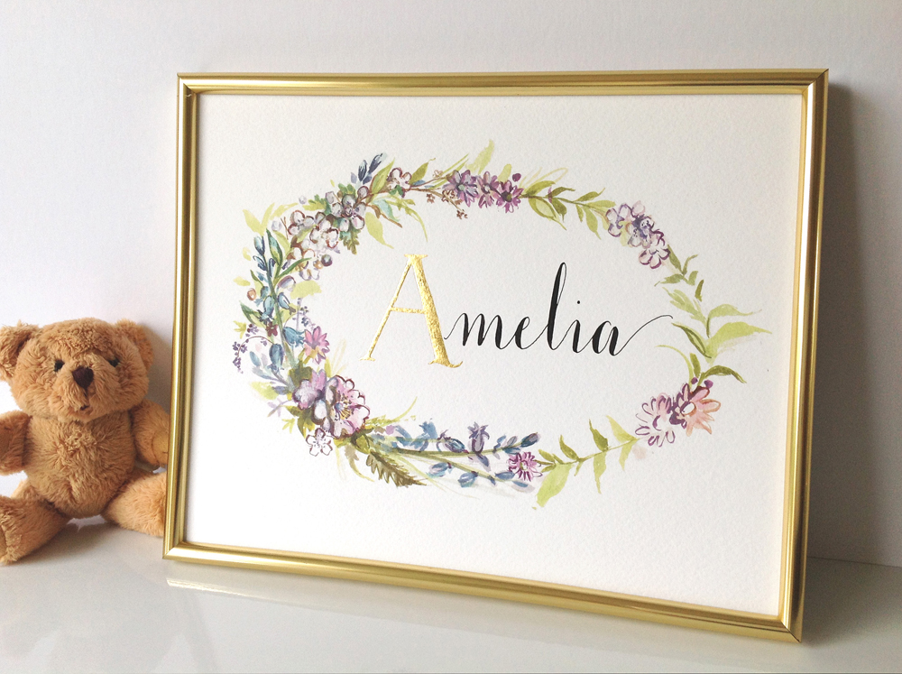 Calligraphy illustration print amelia08