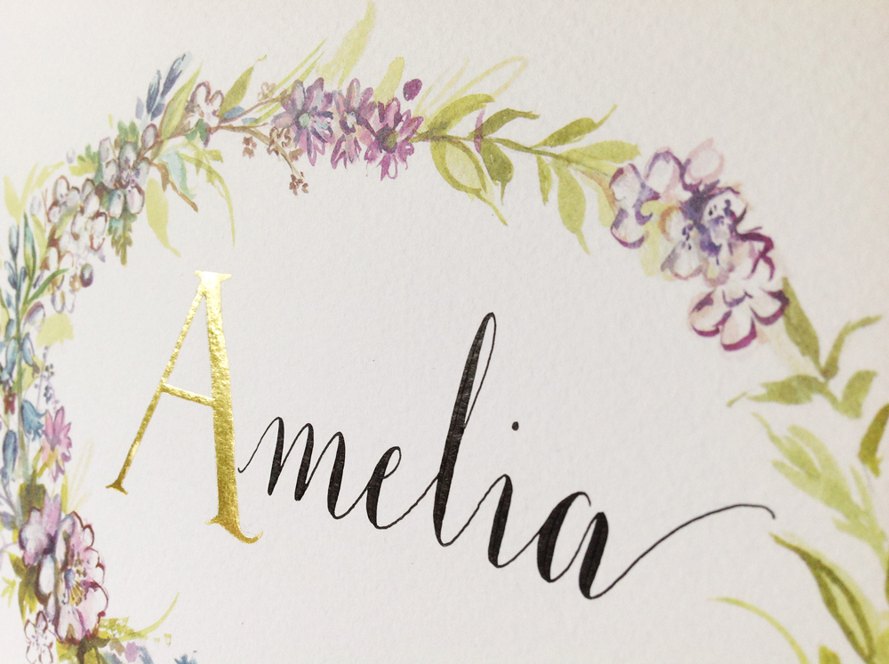 Calligraphy illustration print amelia2