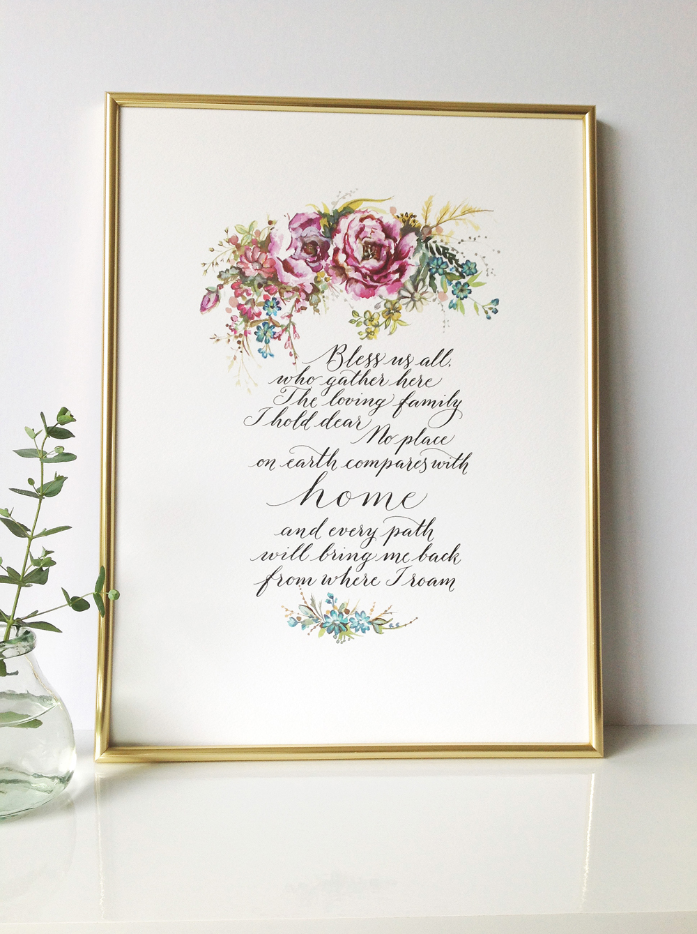 Calligraphy illustration print bless02