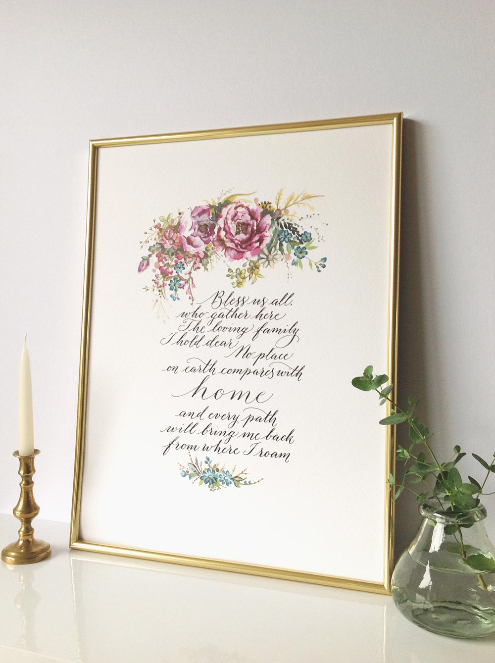 Calligraphy illustration print bless06