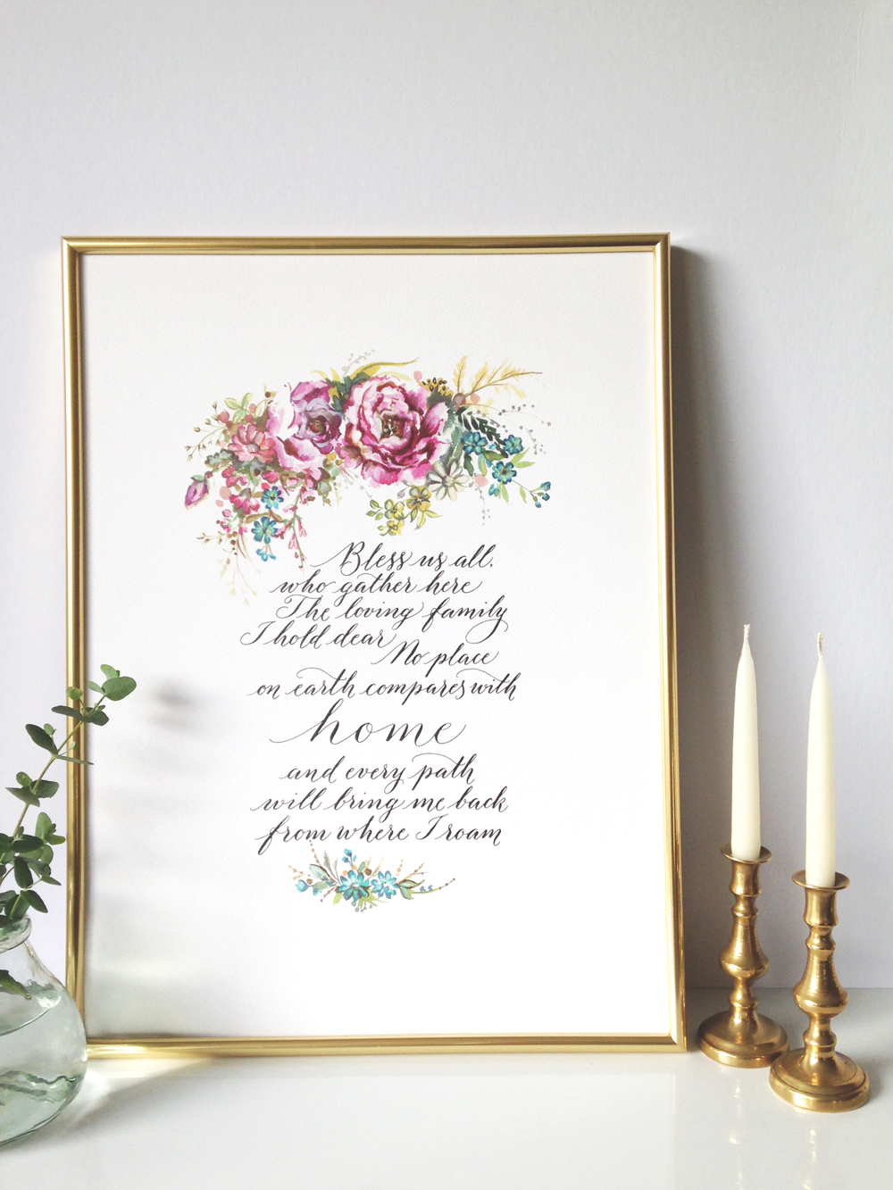 Calligraphy illustration print bless1