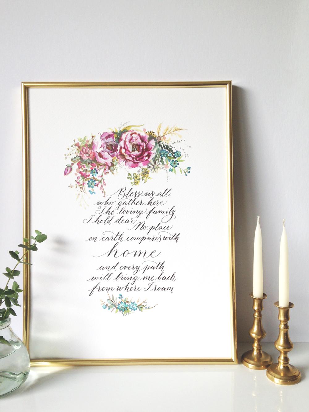 Calligraphy illustration print bless1