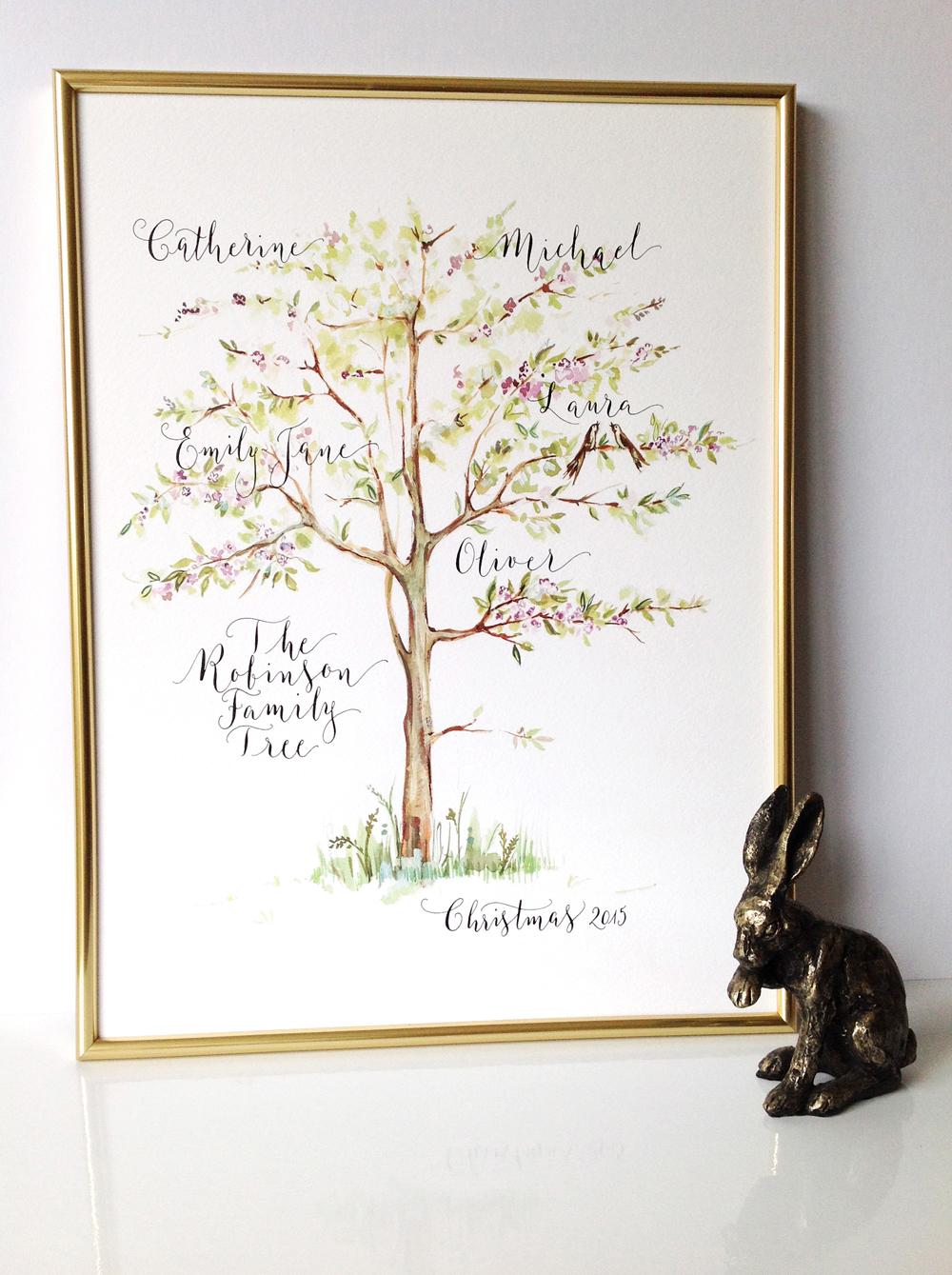 Calligraphy illustration print tree01