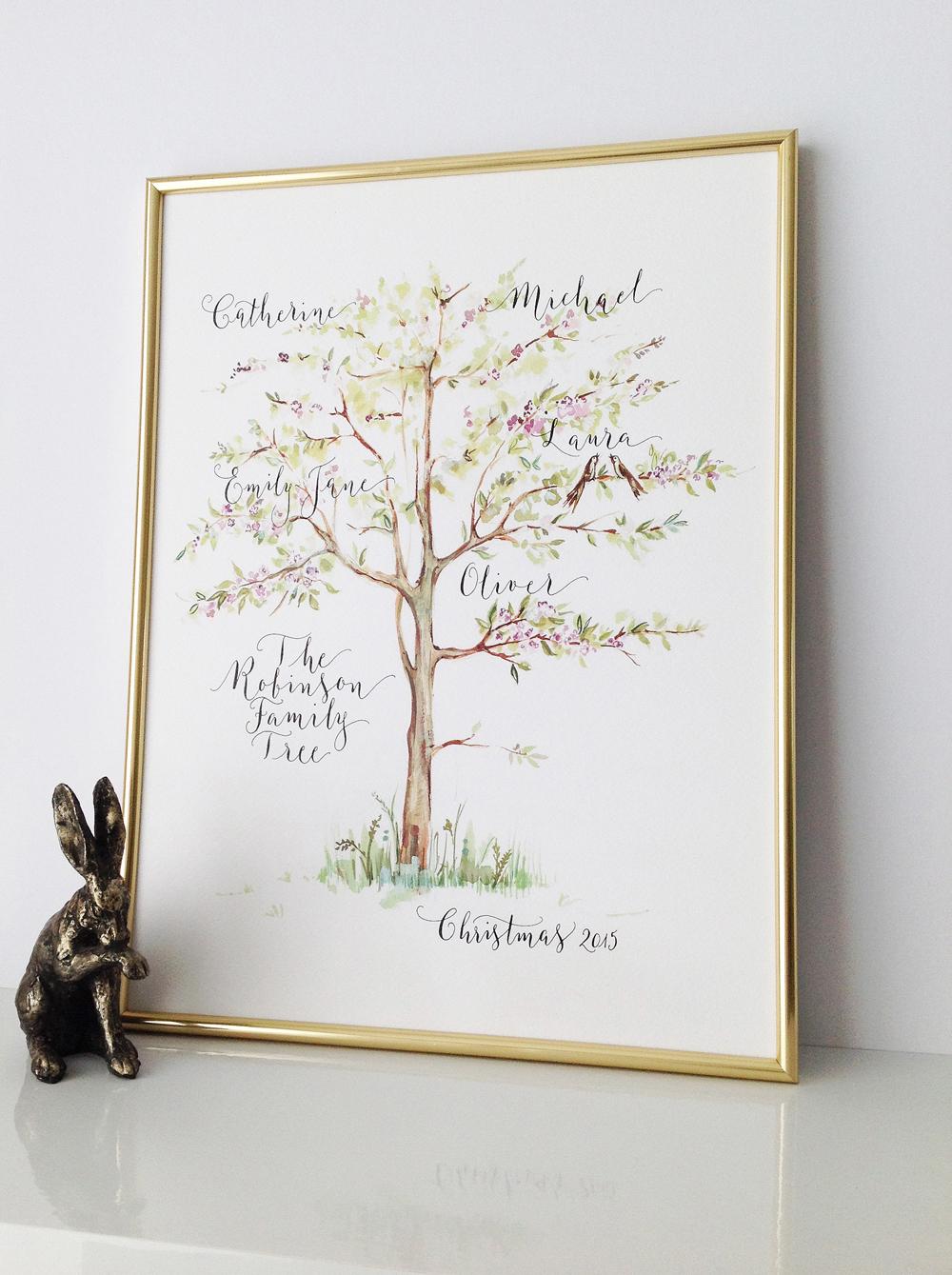 Calligraphy illustration print tree02