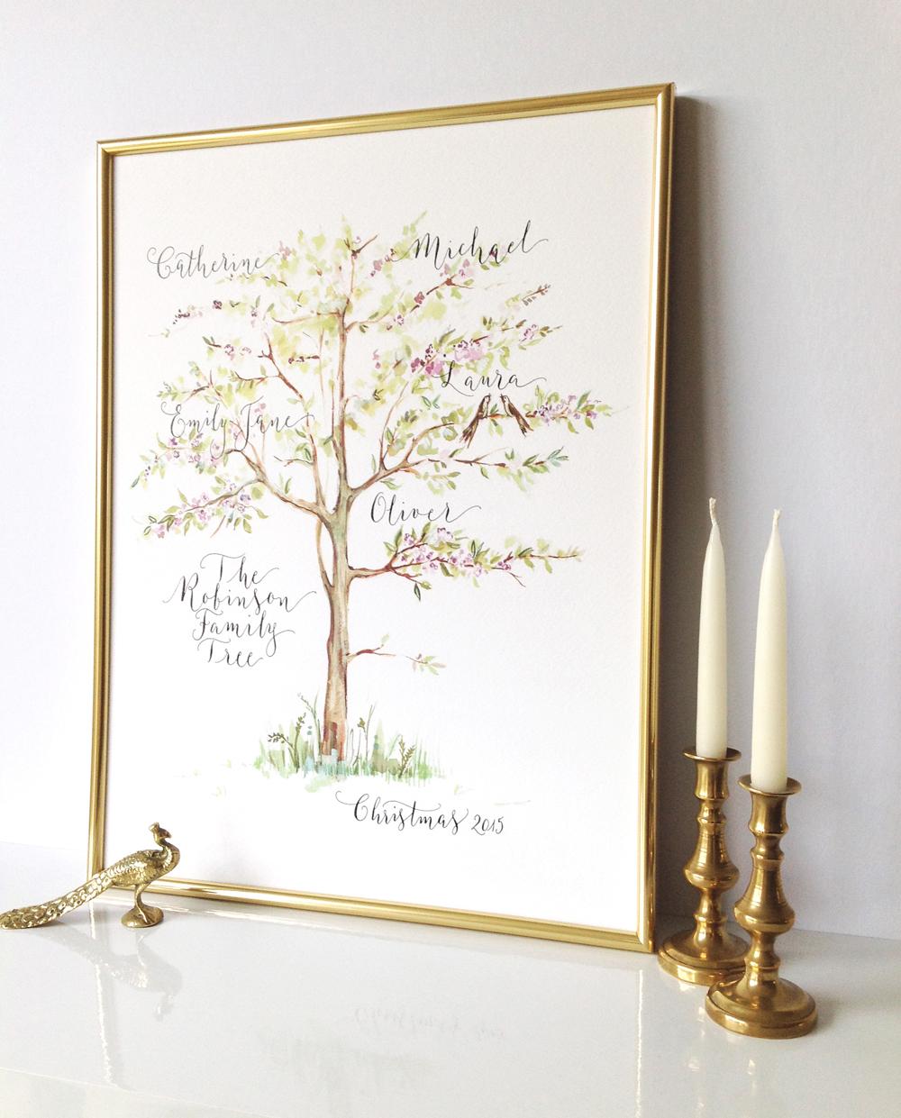 Calligraphy illustration print tree06
