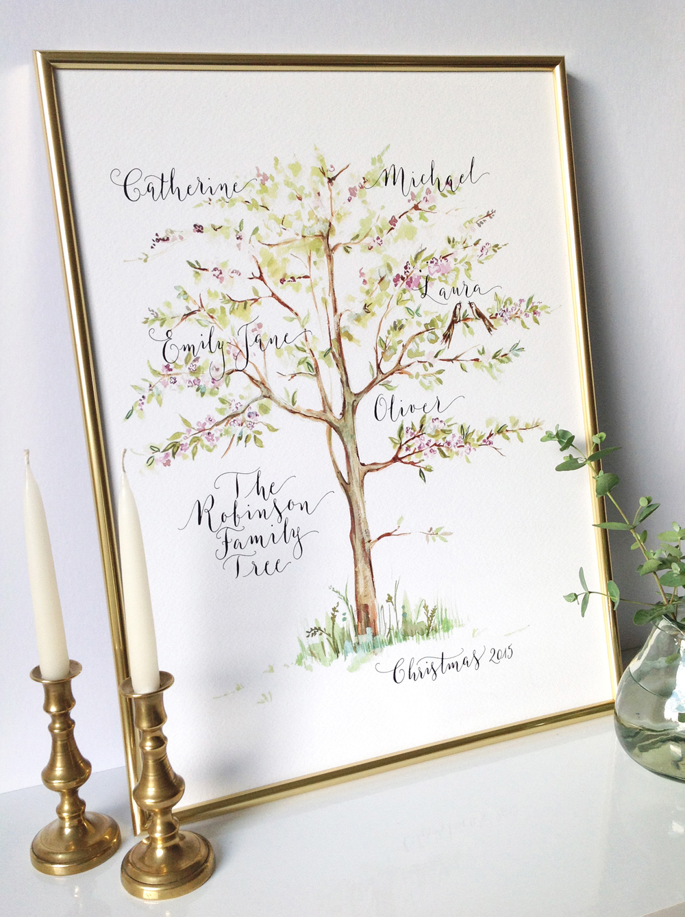 Calligraphy illustration print tree1