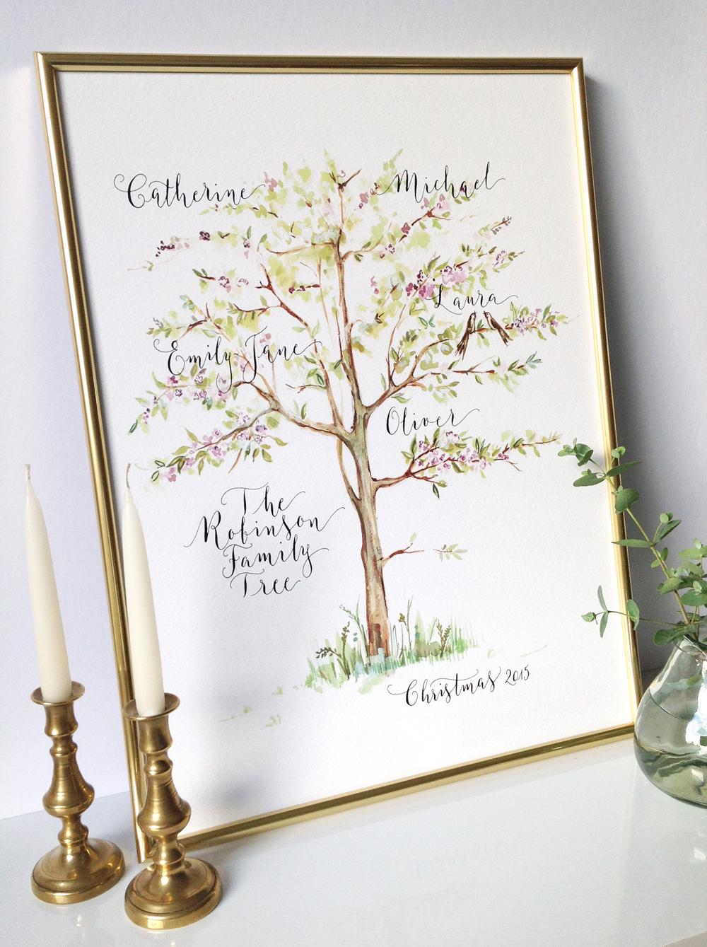Calligraphy illustration print tree1