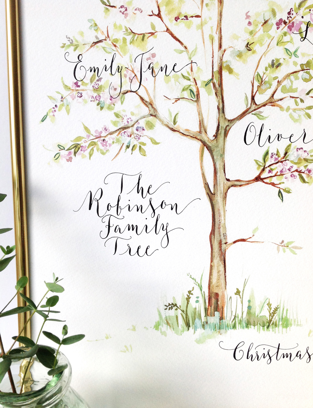 Calligraphy illustration print tree3
