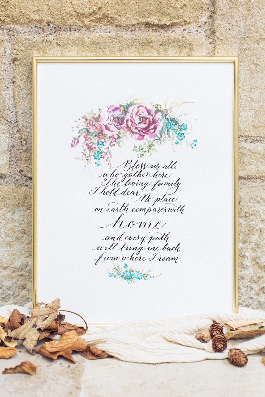 Illustrated calligraphy print042