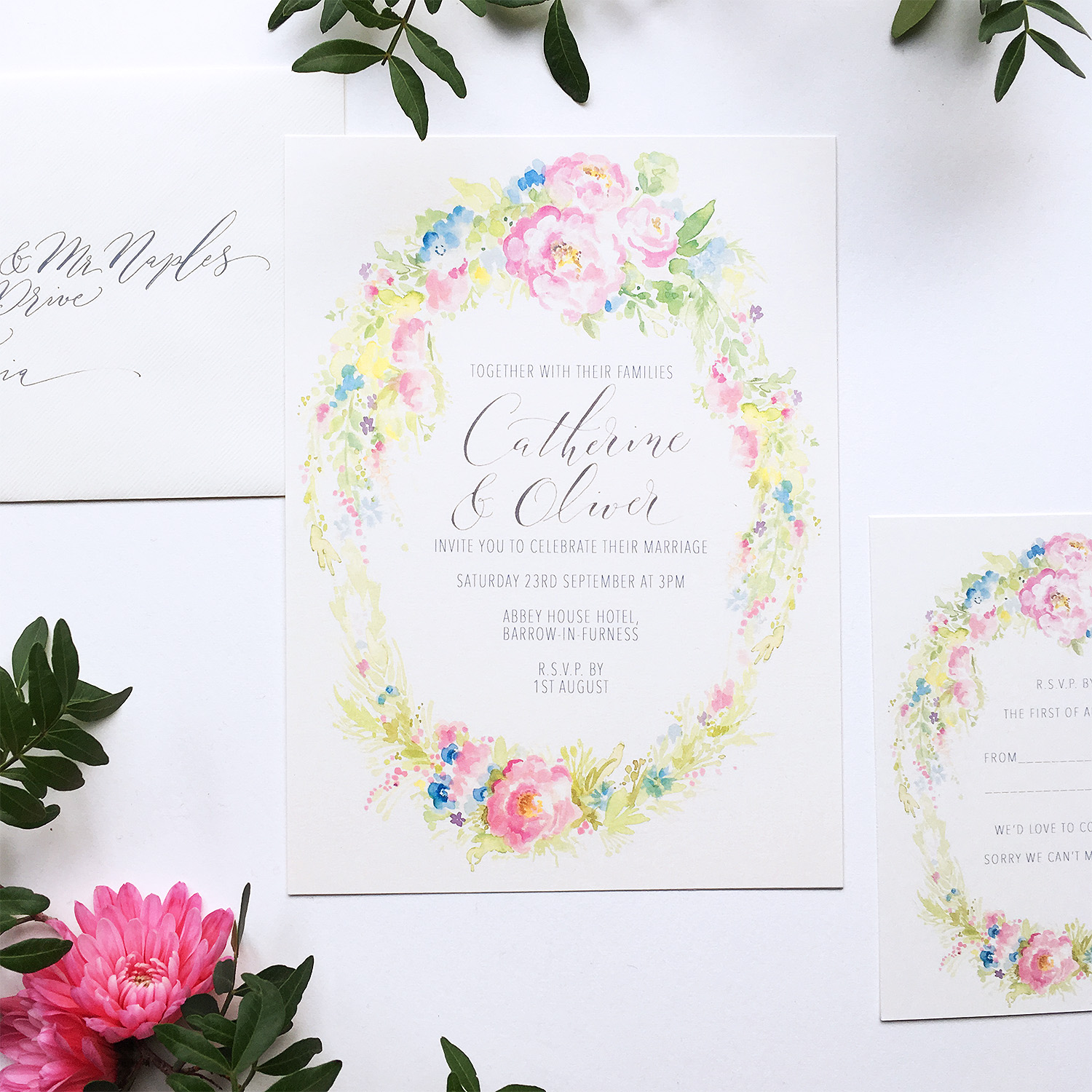 illustrated wedding invitations – By Moon & Tide