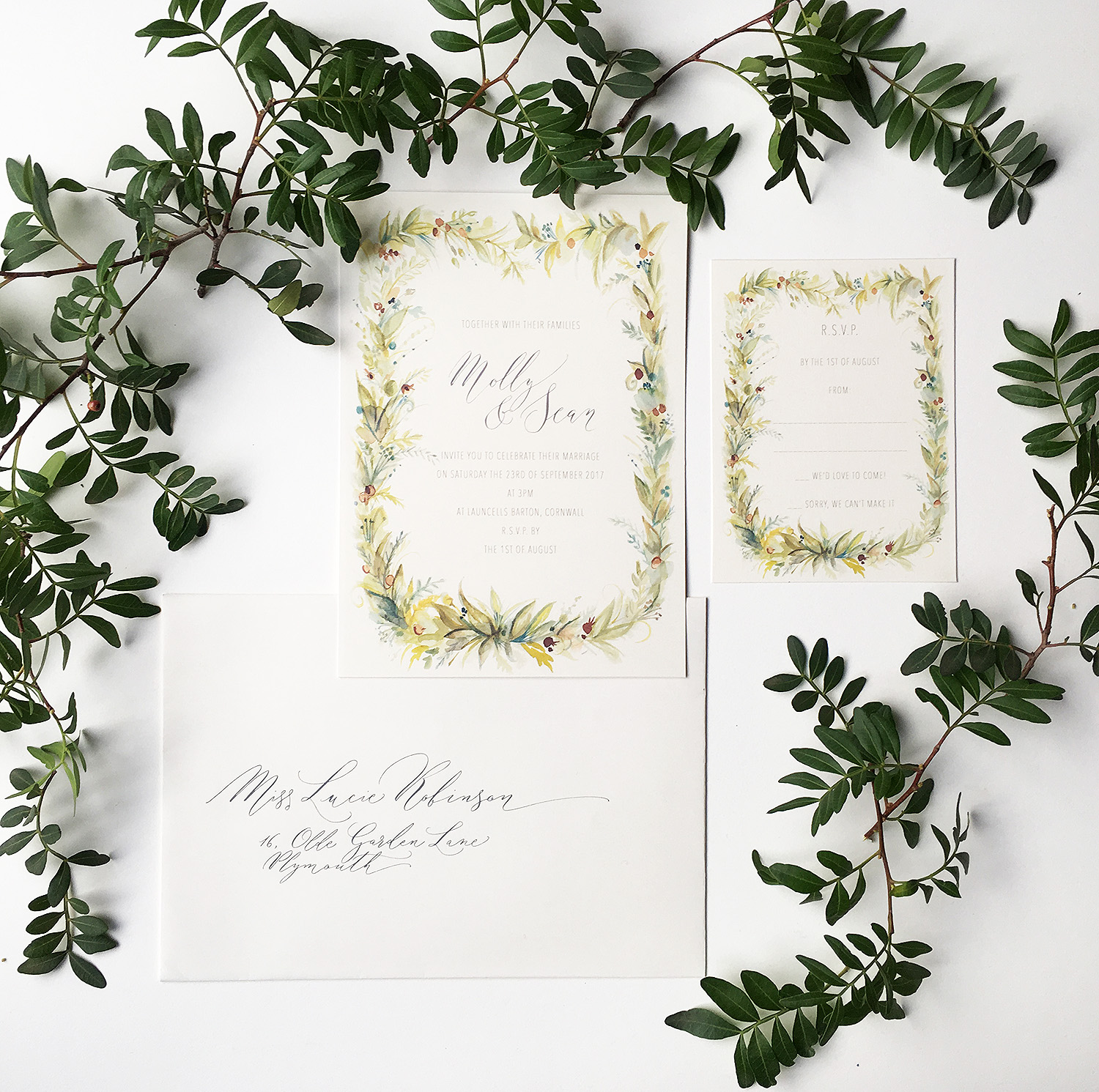 natural wedding invitation By Moon Tide