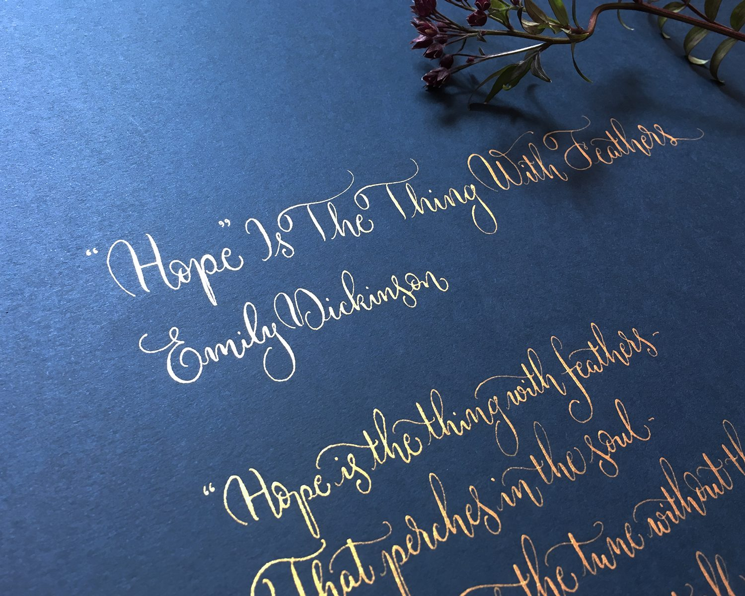 Hope is the thing with feathers by Emily Dickinson in calligraphy