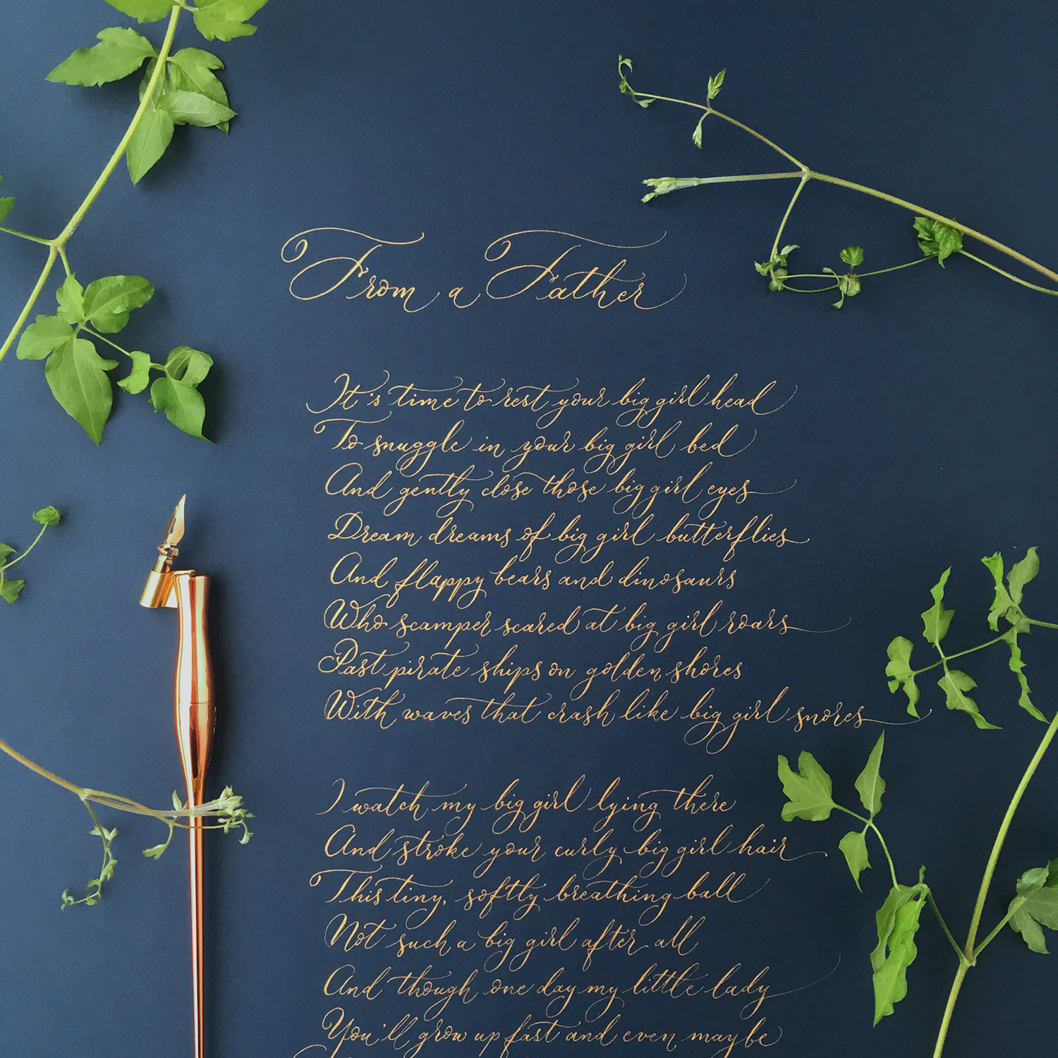 From a Father – calligraphy poem commission for Fathers Day