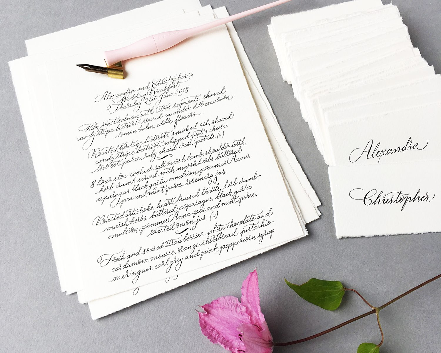 calligrapher uk handwritten wedding menus