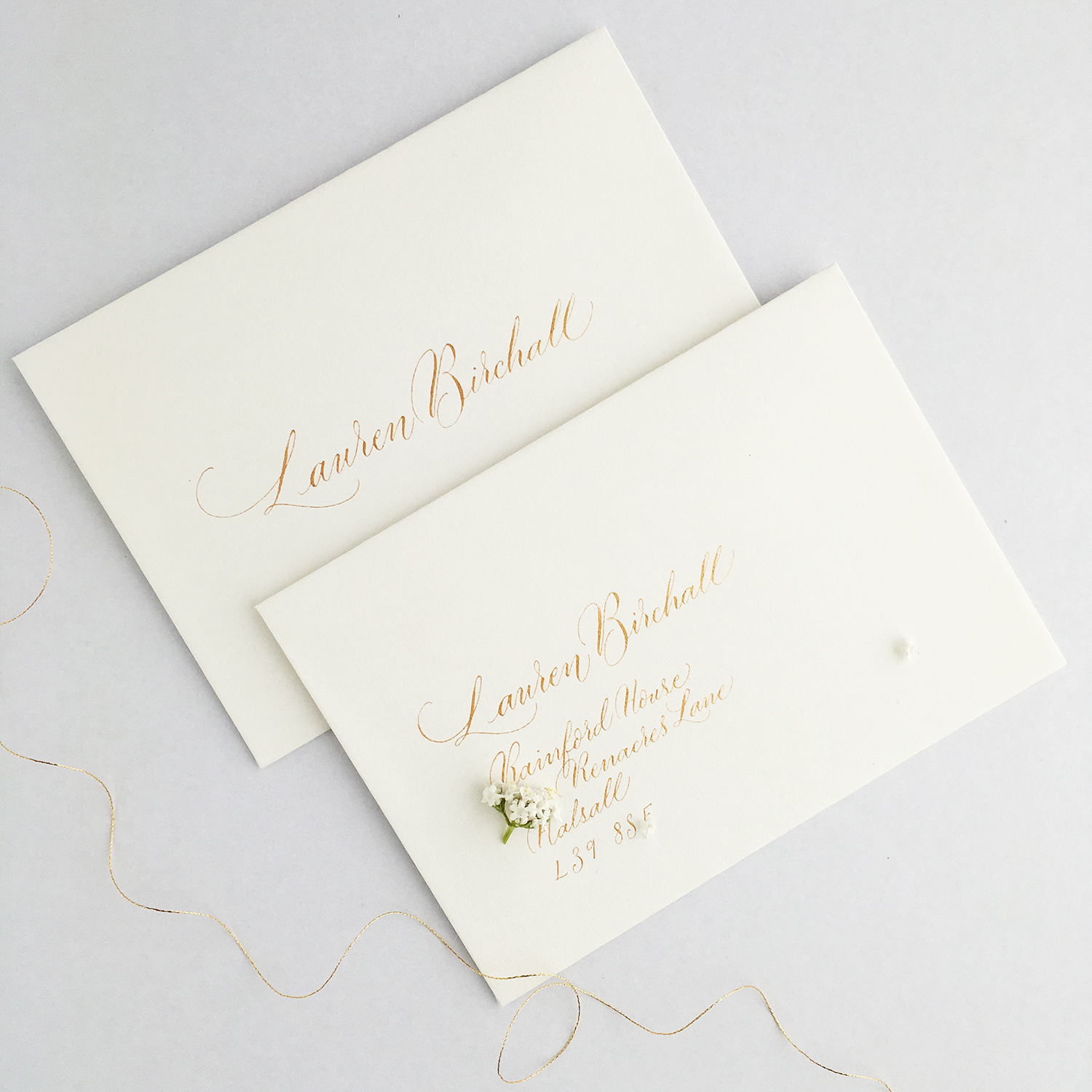 Luxe gold ink wedding calligraphy envelope samples