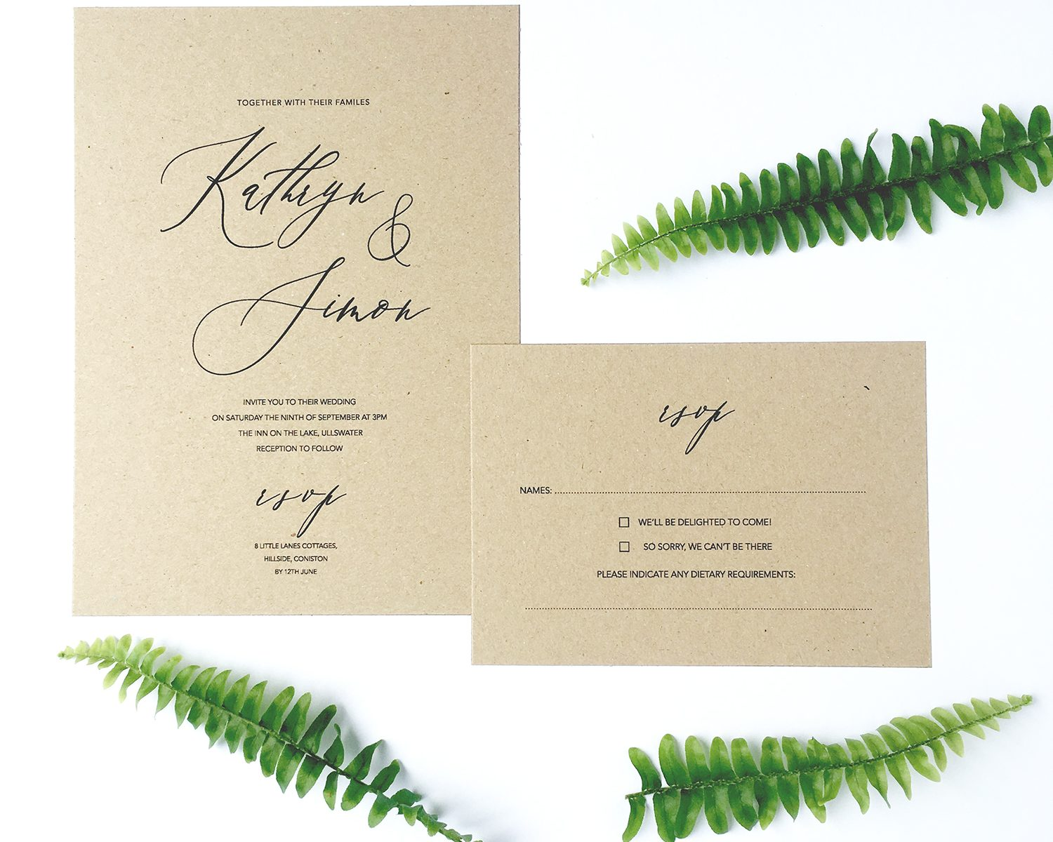 kraft rustic calligraphy font wedding invitation