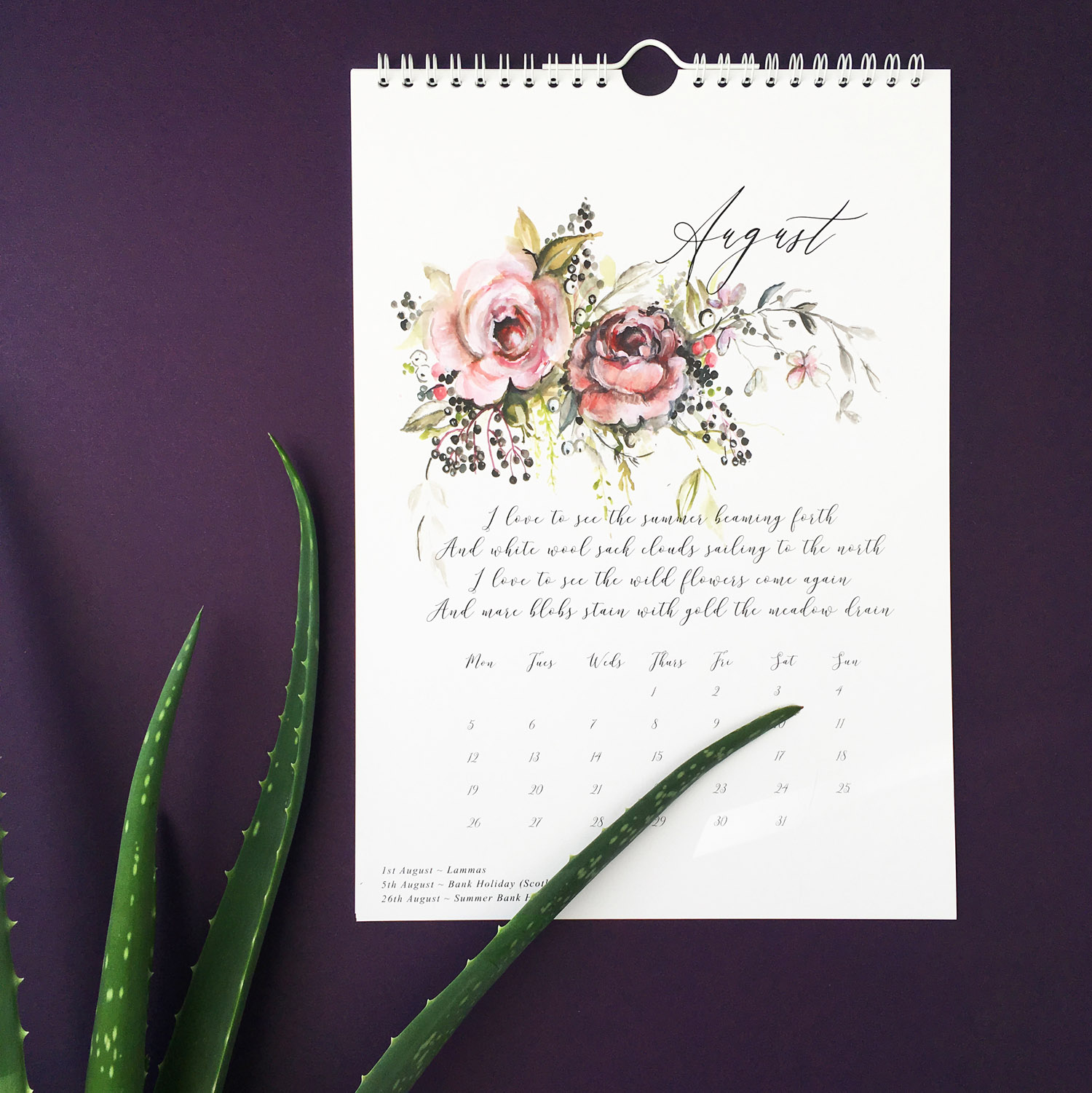 A beautifully illustrated wall calendar for 2019 – available now!