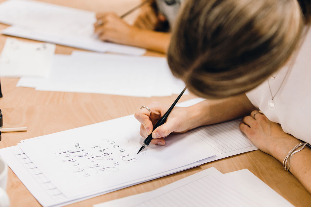 Learning modern calligraphy with Claire Gould at a workshop in 2019