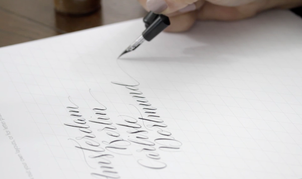 modern online calligraphy workshop with Claire by Moon and Tide