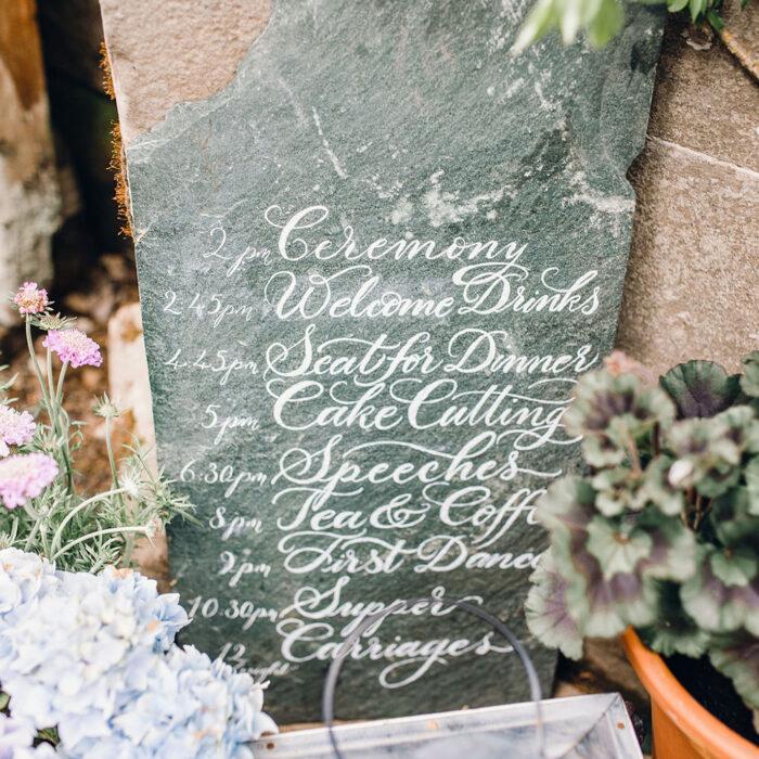 Slate lettering